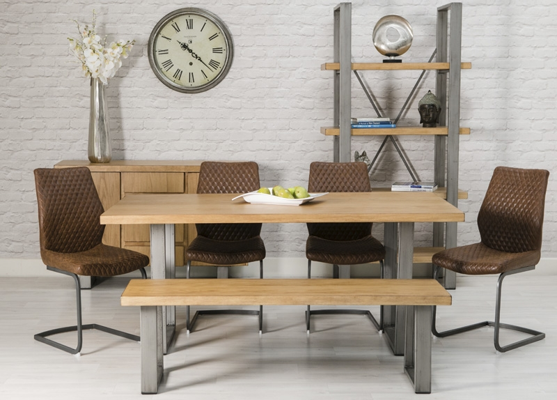 Loft Oak Rectangular Dining Set with Metal Legs with 6 Charlie Chairs - 160cm