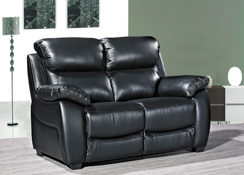 Lucca Black Leather 2 Seater Sofa
