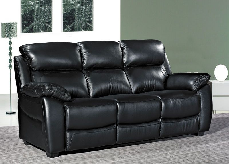 Lucca Black Leather 3 Seater Sofa Sesensigns