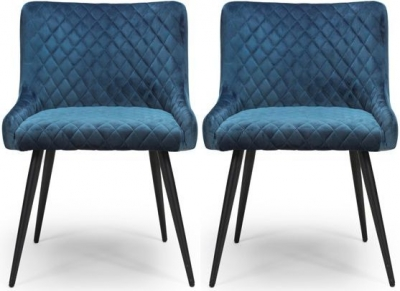 Malmo Blue Velvet Fabric Dining Chair (Pair)