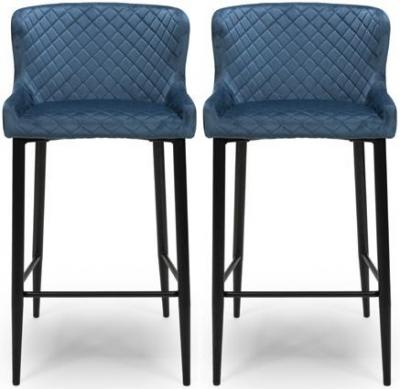 Malmo Blue Velvet Fabric Stool (Pair)