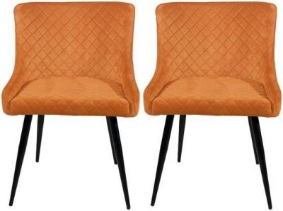 Malmo Burnt Orange Velvet Fabric Dining Chair (Pair)