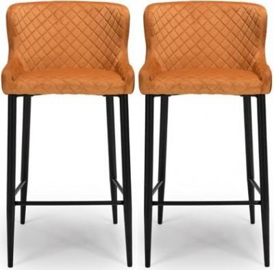 Malmo Burnt Orange Velvet Fabric Stool (Pair)