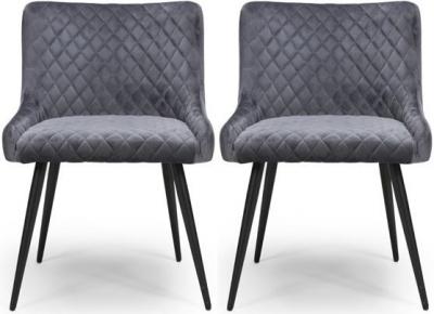 Malmo Grey Velvet Fabric Dining Chair (Pair)