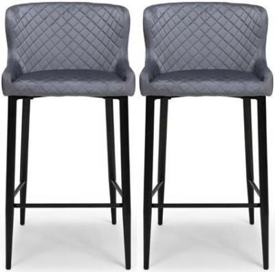 Malmo Grey Velvet Fabric Stool (Pair)