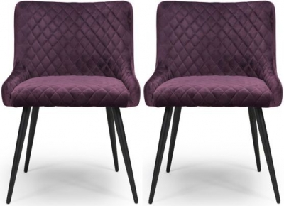 Malmo Mulberry Velvet Fabric Dining Chair (Pair)
