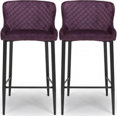 Malmo Mulberry Velvet Fabric Stool (Pair)