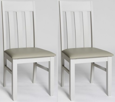 Ohio Painted Slatted Back Padded Dining Chair (Pair)