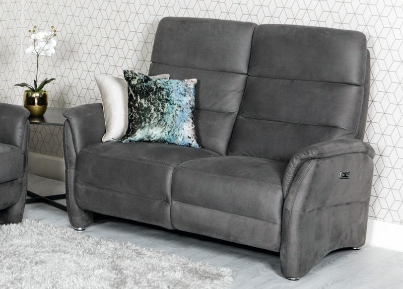 Oslo Grey Fabric 2 Seater Recliner Sofa