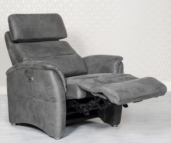 Oslo Grey Fabric Recliner Chair