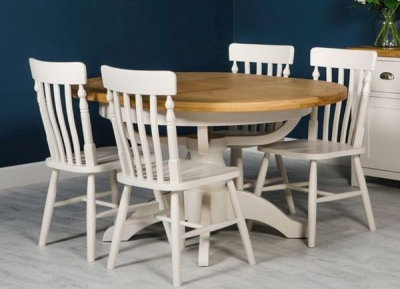 Oxford Painted Single Pedestal Extending Dining Table and 4 Chairs
