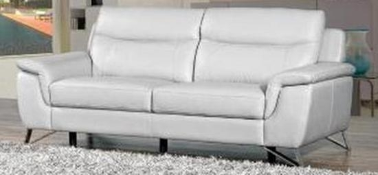 Paloma Putty Leather 3 Seater Fixed Sofa