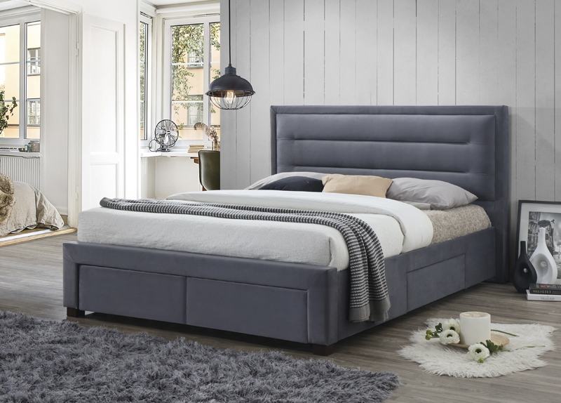 Pippa Grey Fabric Storage Bed