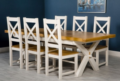 Portland White Painted Cross Leg Extending Dining Table and 6 Chairs
