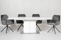 Prado Extending Dining Table and 4 Uno Chairs - White and Grey