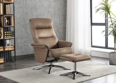 Texas Caramel Faux Leather Swivel Recliner Chair and Footstool