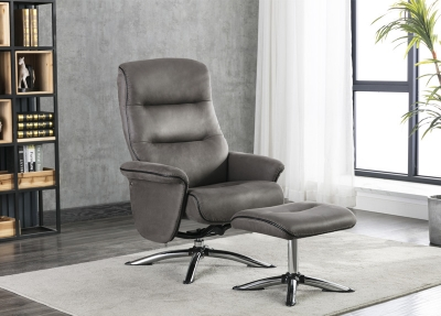 Texas Grey Faux Leather Swivel Recliner Chair and Footstool