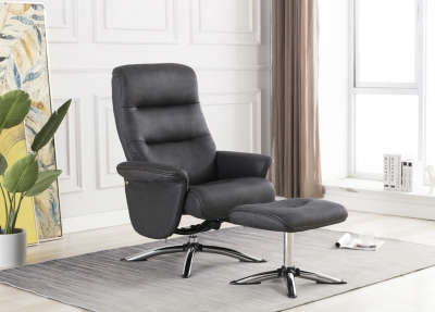 Texas Slate Faux Leather Swivel Recliner Chair and Footstool