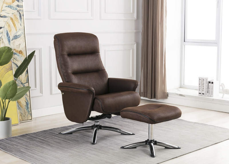 Texas Brown Faux Leather Swivel Recliner Chair and Footstool