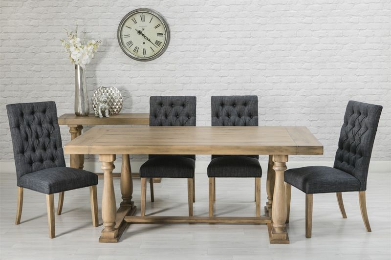 Riviera Oak Dining Set - 200cm Rectangular with 6 Grey Chairs