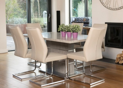 Seattle Concrete Large Dining Table and 6 Taupe Faux Leather Chairs