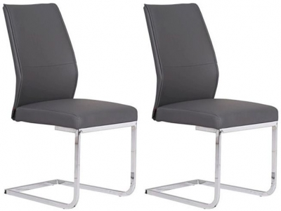 Seattle Grey Faux Leather Dining Chair (Pair)
