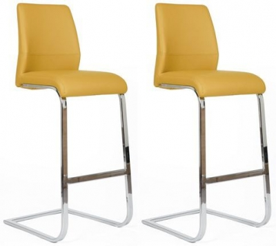 Seattle Ochre Faux Leather Stool (Pair)