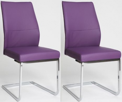 Seattle Purple Faux Leather Dining Chair (Pair)