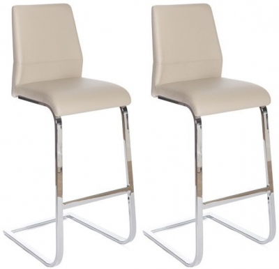 Seattle Taupe Faux Leather Stool (Pair)
