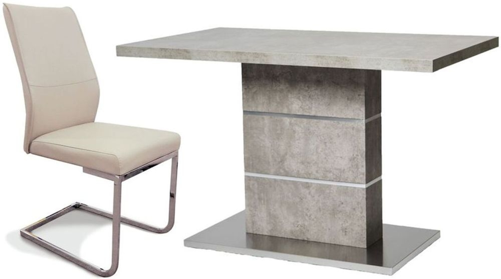 Seattle Concrete Dining Table and 4 Taupe Faux Leather Chairs
