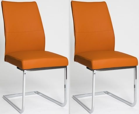 Seattle Orange Faux Leather Dining Chair (Pair)