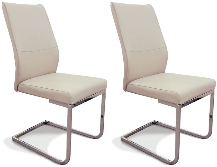 Seattle Taupe Faux Leather Dining Chair (Pair)