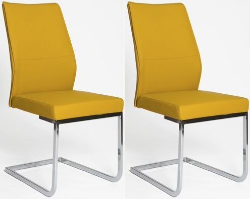 Seattle Ochre Faux Leather Dining Chair (Pair)