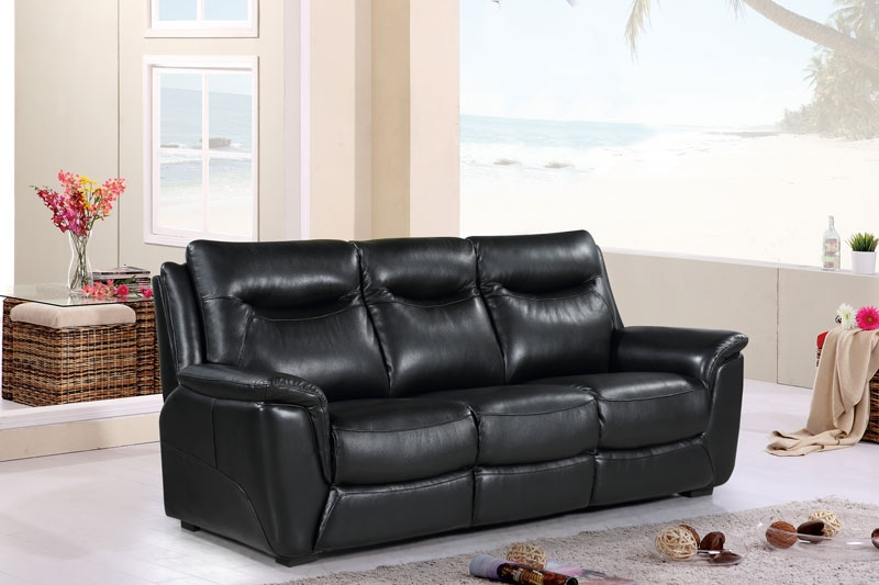 Siena Black Leather 3 Seater Sofa
