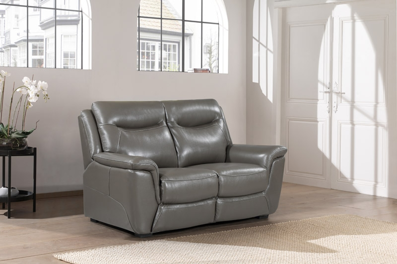 Siena Grey Leather 2 Seater Sofa