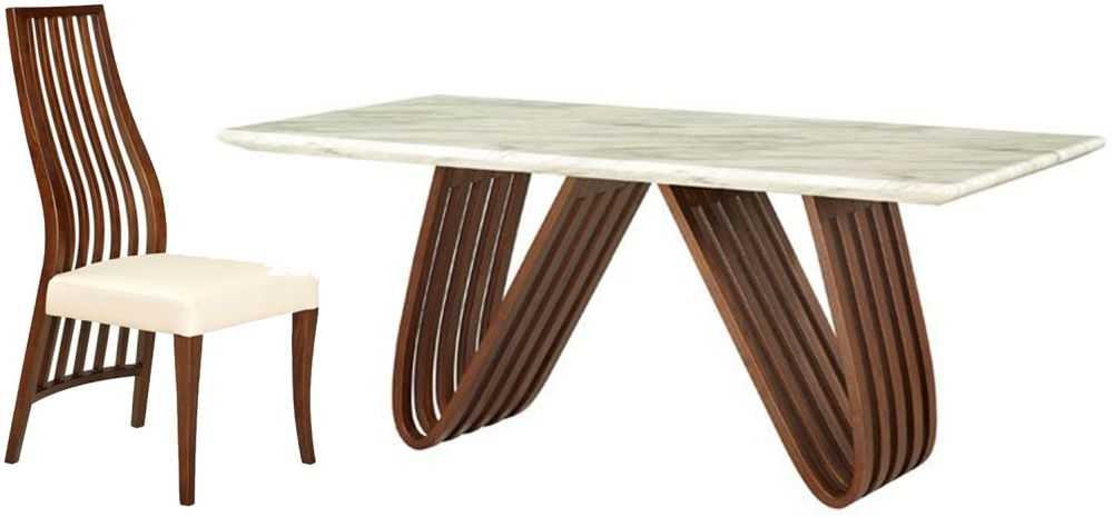 Sorrento White Marble Rectangular Dining Set with 6 Wooden Back Dining Chairs - 160cm