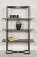 Tate Low Bookcase - Grey and Metal