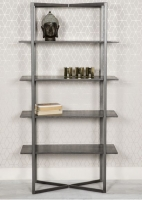 Tate Tall Bookcase - Grey and Metal