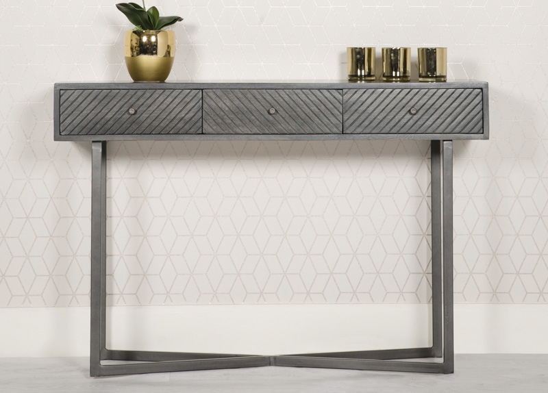 Buy Tate Grey Mango Wood And Metal 3 Drawer Console Table Online