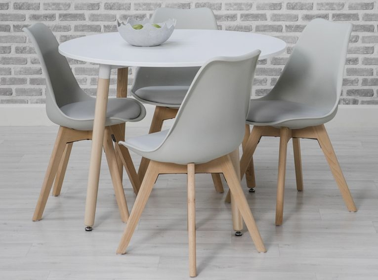 Buy Urban White Round Dining Set With 4 Grey Chairs 75cm Online
