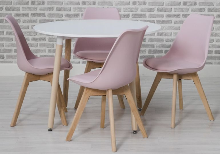 Urban Round Dining Table and 4 Chairs - White and Pink