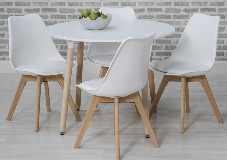 Urban White Round Dining Set with 4 White Chairs - 75cm