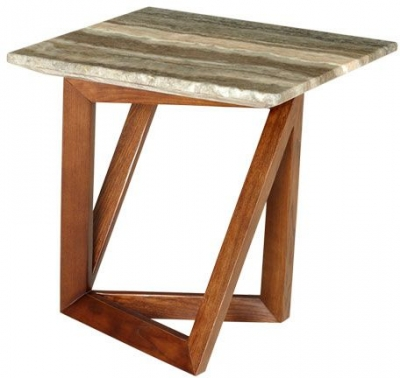 Veneto Grey Marble End Table
