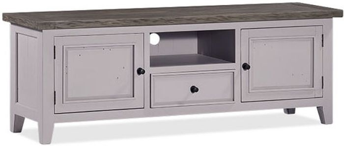 Wellington Cotton White Reclaimed Pine 2 Door 1 Drawer TV Unit