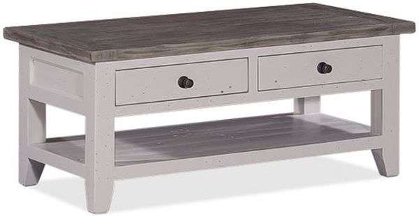 Wellington Cotton White Reclaimed Pine 2 Drawer Storage Coffee Table