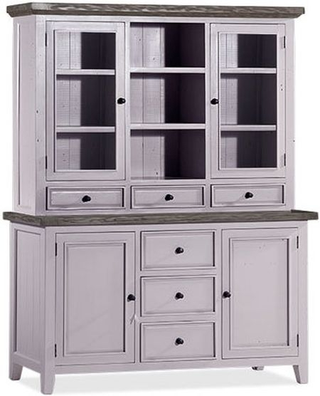 Wellington Cotton White Reclaimed Pine 4 Door 6 Drawer Sideboard with Hutch
