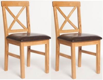 York Oak Padded Seat Dining Chair (Pair)