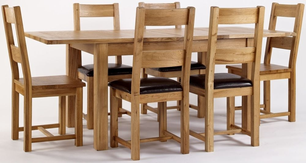 York Oak Rectangular Extending Dining Set with Chairs - 120cm-160cm