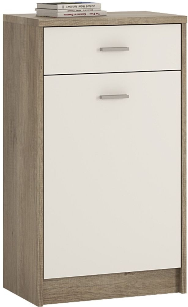 4 You Canyon Grey and Pearl White Cupboard - 1 Door 1 Drawer