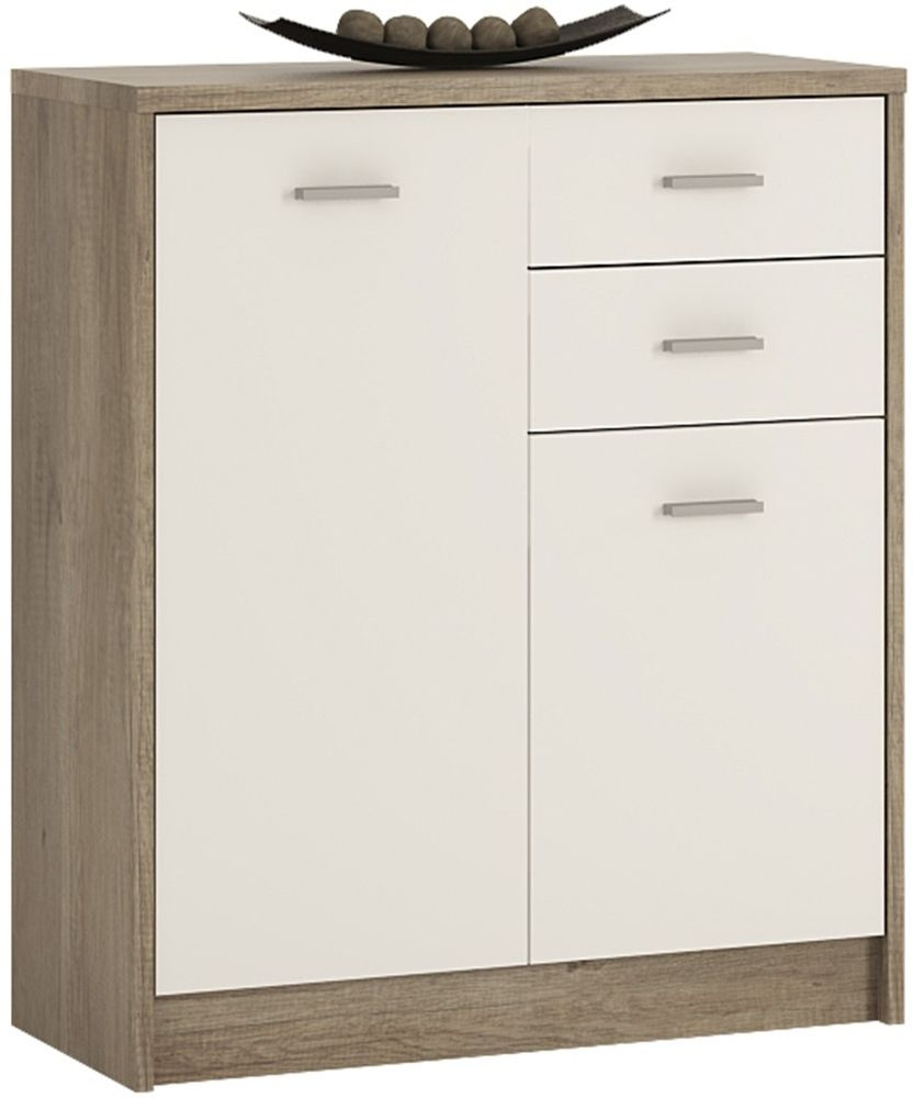 4 You Canyon Grey and Pearl White Cupboard - 2 Door 2 Drawer